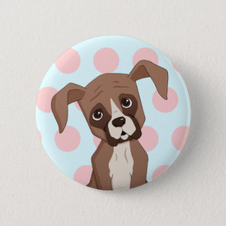 Boxer puppy on Pink Polka Dots 6 Cm Round Badge