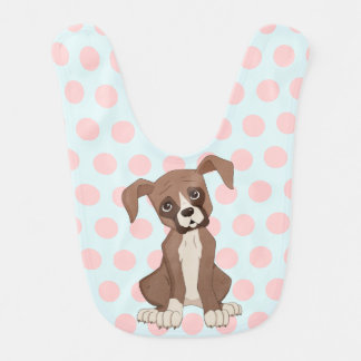 Boxer puppy on Pink Polka Dots Bib