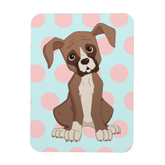 Boxer puppy on Pink Polka Dots Rectangular Photo Magnet