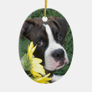 Boxer Puppy Peeking around Sunflowers Ceramic Ornament