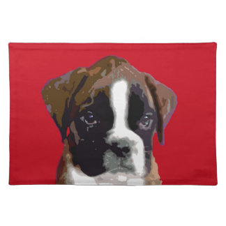 Boxer puppy Red Placemat