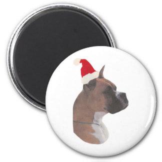 Boxer Santa Hat Refrigerator Magnets