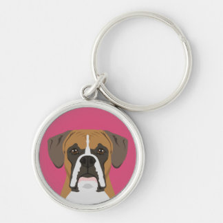 Boxer Silver-Colored Round Key Ring