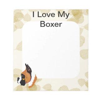Boxer ~ Tan Leaves Motiff Notepad