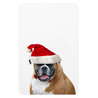 Boxer with a Santa hat Flexible Magnet