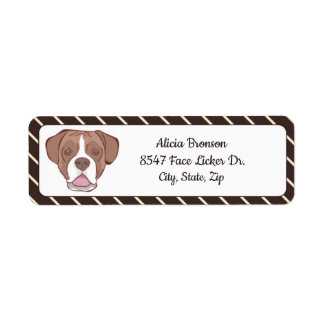 Boxer with Cream Diagonal Stripes Return Address Label