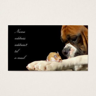 Boxer with hamster business card