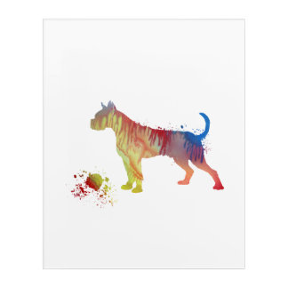 Boxer with toy acrylic wall art
