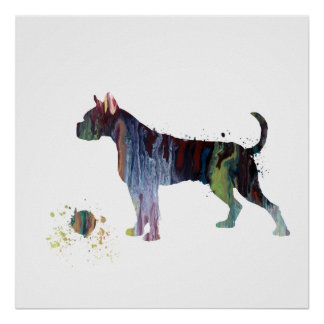 Boxer with toy poster
