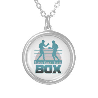 boxers sparring silver plated necklace