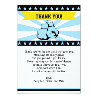 Boxing Baby Shower Thank You Card Note Blue