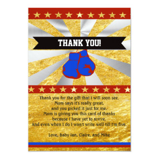 Boxing Baby Shower Thank You Card Note Gold