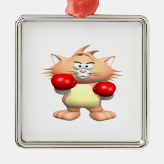 Boxing Cat Silver-Colored Square Decoration