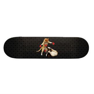 Boxing cats on black 21.3 cm mini skateboard deck
