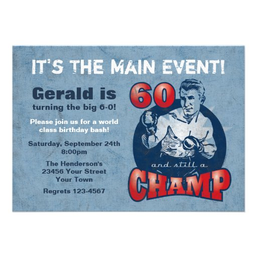 Boxing Champ 60th Birthday Party Invitation