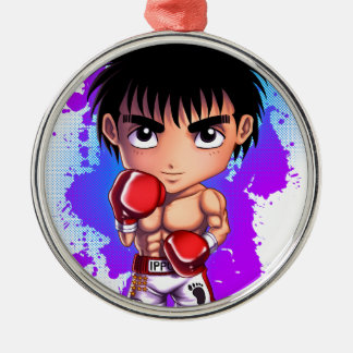 Boxing Chibi Silver-Colored Round Decoration