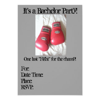 Boxing Glove BACHELOR Party Invitations