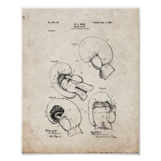 Boxing Glove Patent - Old Look Poster