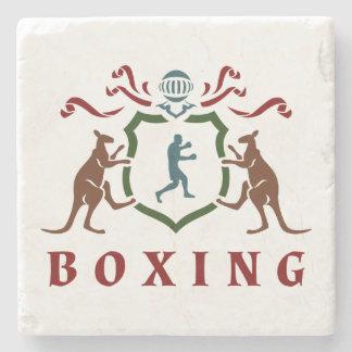 Boxing Kangaroo Blazon Marble Coaster Stone Beverage Coaster