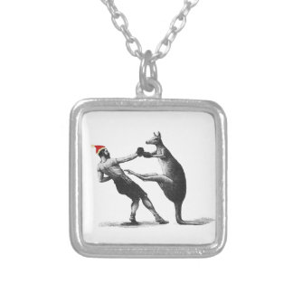 boxing kangaroo christmas silver plated necklace