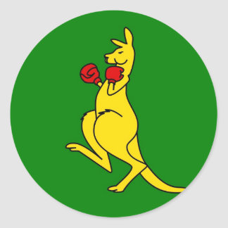 "Boxing kangaroo collector item""s round sticker"