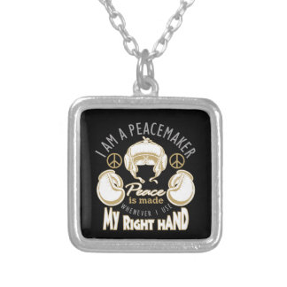 boxing peacemaker silver plated necklace