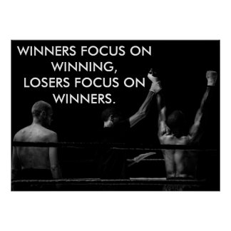 Boxing Ring Motivational Winning Quote Poster