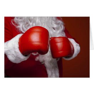 Boxing Santa Claus Funny Card