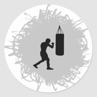 Boxing Scribble Style Classic Round Sticker