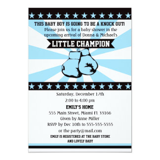 Boxing Sports Baby Boy Shower Invitation Blue