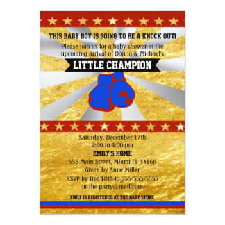 Boxing Sports Baby Boy Shower Invitation Gold