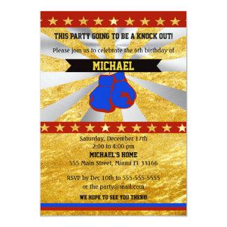 Boxing Sports Boy Birthday Invitation Gold Blue