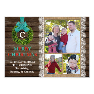 Boxwood Wreath Christmas Card with 3 Family Photos