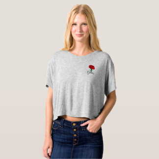"Boxy crop top. Red Carnation. ""Free"" in Italian T-Shirt"