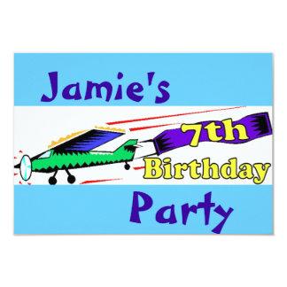 Boy 7th birthday party 9 cm x 13 cm invitation card