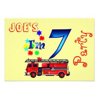 Boy 7th birthday party firetruck personalized invite