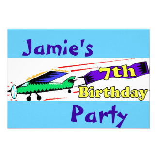 Boy 7th birthday party personalised announcements