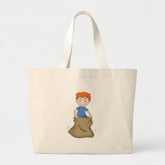 boy and burlap jumbo tote bag