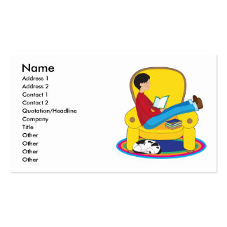 Boy and Dog Reading Business Card