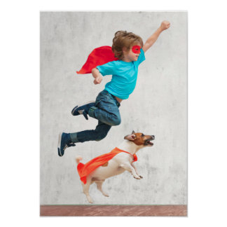 Boy and Dog Superheroes Poster