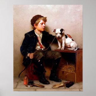 Boy and Dog Vintage Art Poster