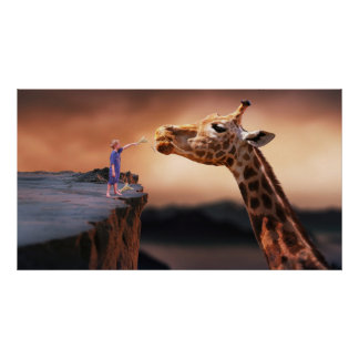 boy and giraffe surreal fantasy art poster