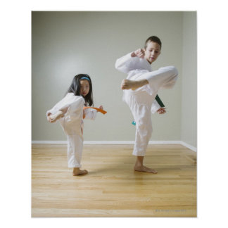 Boy and girl (4-9) practising Taekwondo kicks Poster