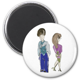 Boy and Girl! Art 6 Cm Round Magnet