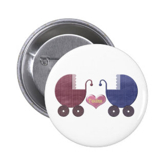 Boy and Girl Baby Twins Pram Art Design Pin