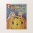 Boy and Girl Halloween Cross Stitch Jigsaw Puzzle