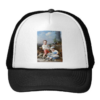 Boy and Girl Reading books painting Cap