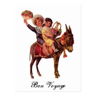 Boy and Girl Riding a Donkey, Bon Voyage Postcard