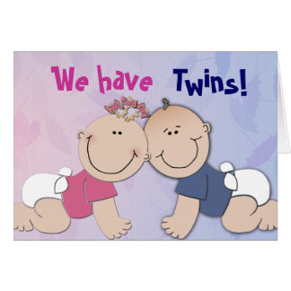 Boy and Girl Twin Theme Design Greeting Card