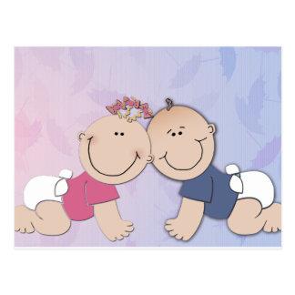 Boy and Girl Twin Theme Design Postcard